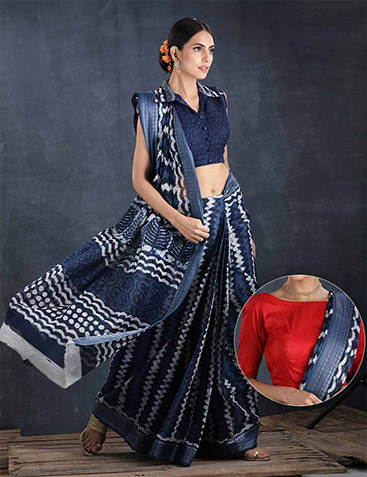 Indigo Cotton Saree with 2 Blouse Pieces by Pavechas