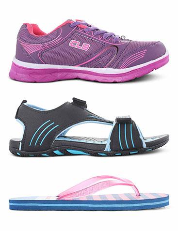 Columbus Sports shoes + Floaters + Flip flops for Women
