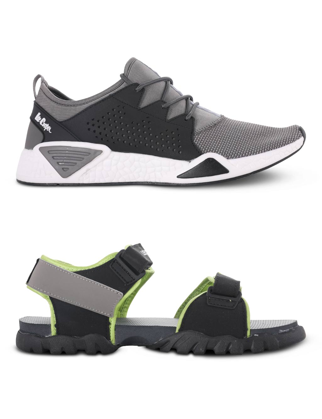d795e9de0e9f Lee Cooper 1 Grey Sports Shoe + 1 Lime Sandal - Buy Online at Best Prices