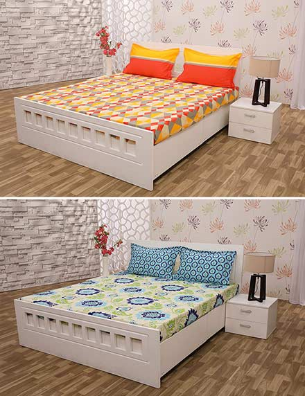 Pack of 2 Bed Sheets with 4 Pillow Covers