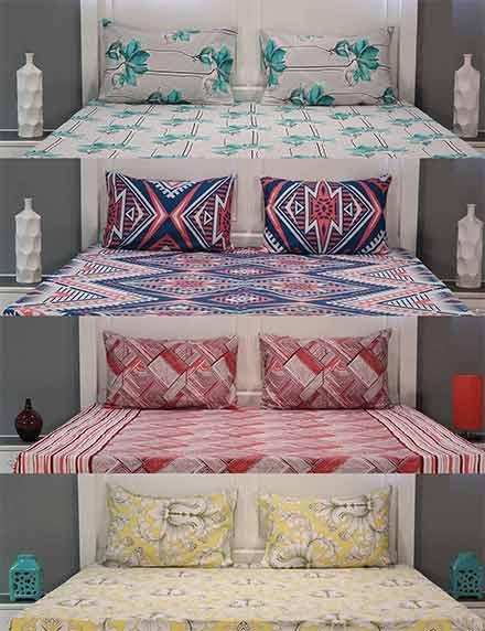 Color Splash Pack Of 4 Cotton Bedsheets + 8 Pillow Coversr1299r4200( 69%)