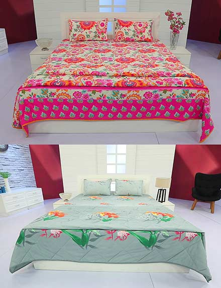 Pick Any 1 - Double Bed Comforter with Matching Bed Sheets + 2 Pillow Covers