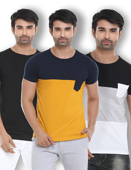 Pack of 3 Cotton Stylized Round Neck T-shirts