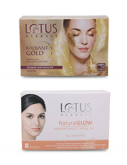 Lotus Herbals 4 Natural Glow Facial Kit + 4 Radiant Gold Facial Kit