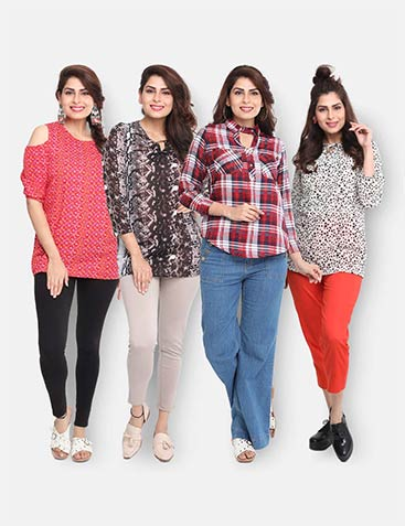Pack of 4 Tunic Tops by Bloomeri