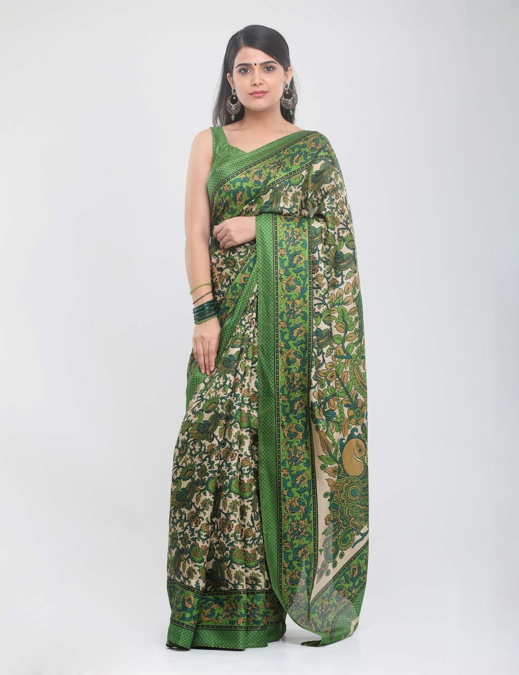 f3e56dba5b3e10 Pack of 2 Printed Kalamkari Sarees by Indian Beauty - Buy Online at Best  Prices | Ezmall.com