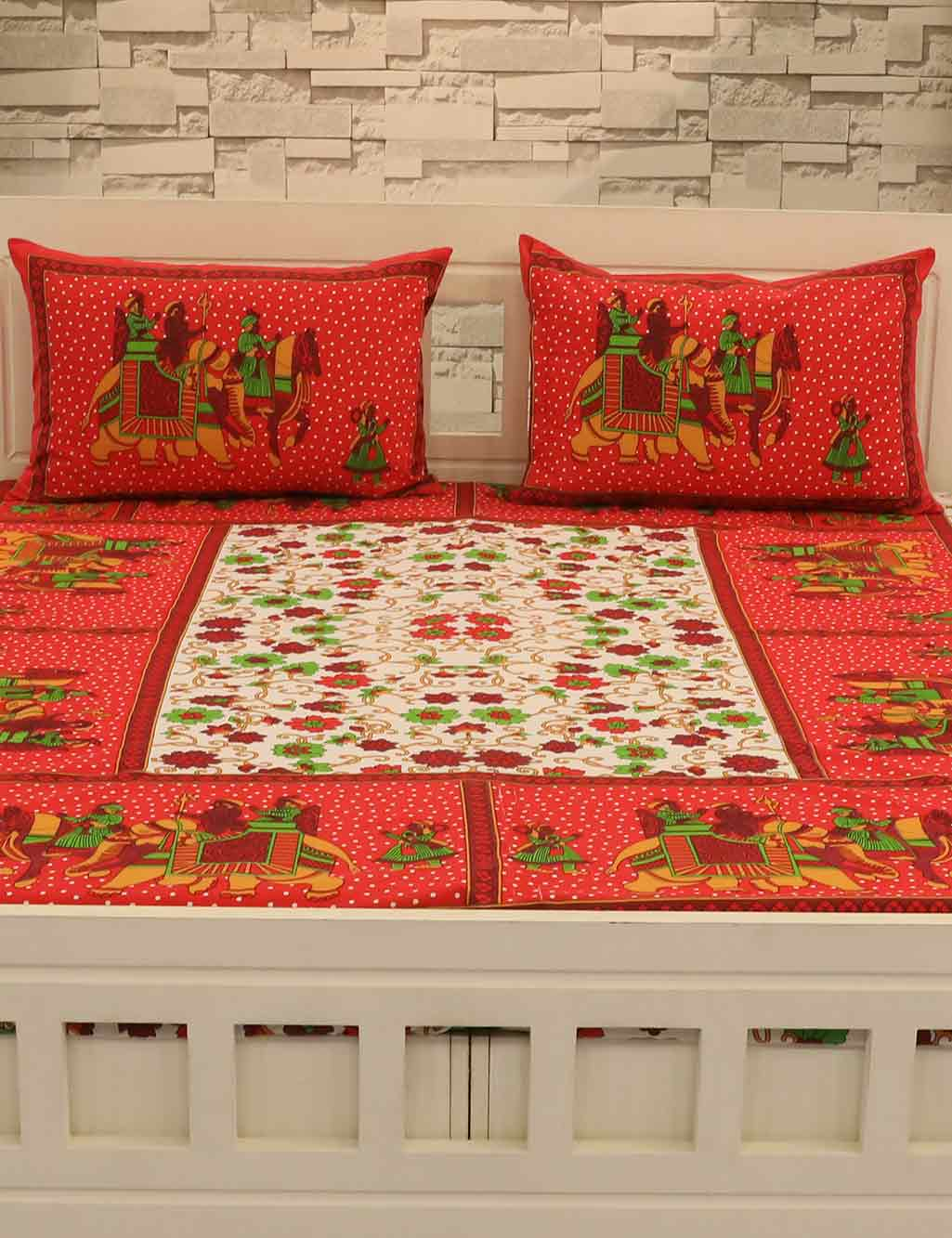 2a1218fc18 Pack of 2 Jaipuri Cotton Bedsheets + 4 Pillow Covers - Buy Online at Best  Prices | Ezmall.com
