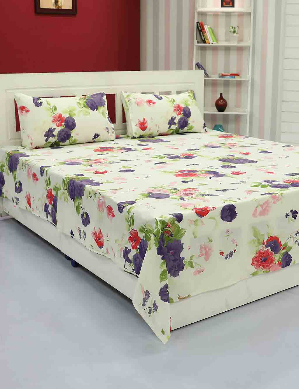 6499a1d7770 5 Cotton Double Bed Sheets   10 Pillow Covers by Vorhang - Buy Online at  Best Prices