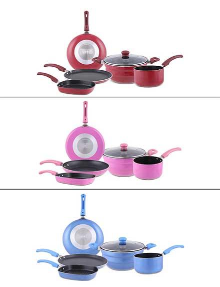 Multi kadai with 5 Pc Non-Stick Cookware set by Uniqraft