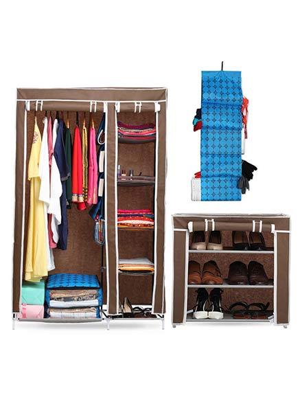 2 Door Wardrobe + 1 Multi Rack + Organizer Set