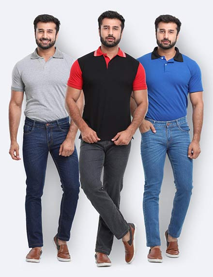 Pack Of 3 Cotton Denims By David Flynn